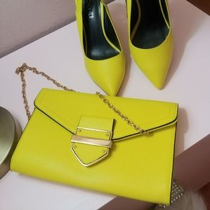 Aldo Neon yellow clutch